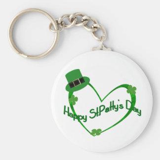 Happy ST Pattys Day Basic Round Button Keychain