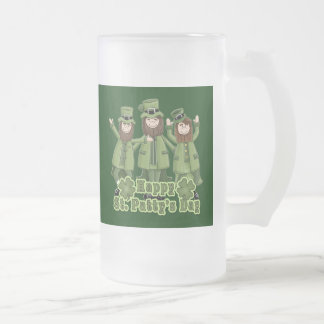 Happy St Patty's Day Leprechauns 16 Oz Frosted Glass Beer Mug
