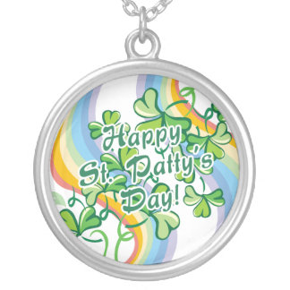 Happy St. Patty's Day Round Pendant Necklace