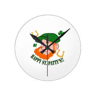 Happy St. Pattys Round Clock
