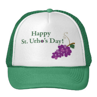 Happy St Urho s Day with Grapes Trucker Hat