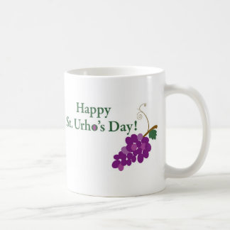 Happy St. Urho's Day! with Grapes Classic White Coffee Mug