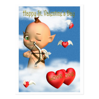 Happy St Valentine s Day Cupid Post Cards