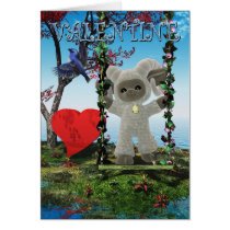 Happy St. Valentine's Day Card with cute sheep