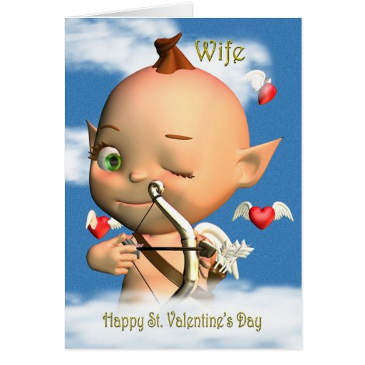 Happy St. Valentine's Day Cupid Wife Cards