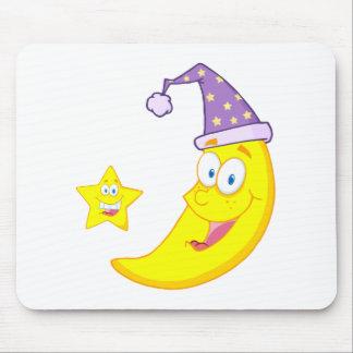 Happy Star And Moon Mascot Cartoon Characters Mouse Pad