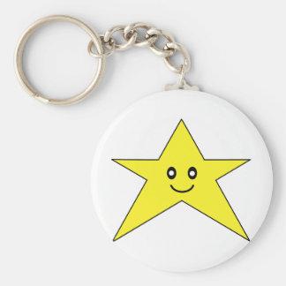 Happy Star Basic Round Button Keychain