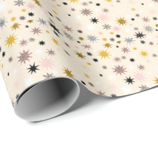 Happy Star Burst Wrapping Paper - gold black pink