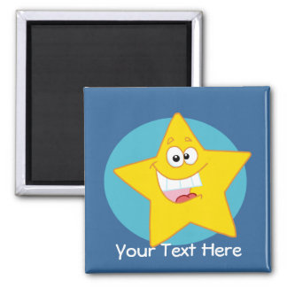 Happy Star (Customizable) 2 Inch Square Magnet