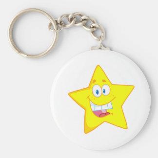 Happy Star Mascot Cartoon Character Keychain