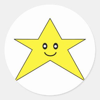 Happy Star Round Stickers