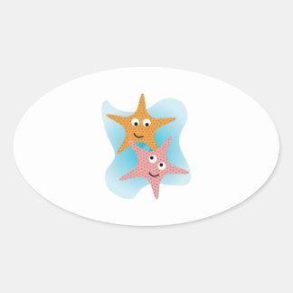 Happy Starfish Oval Stickers
