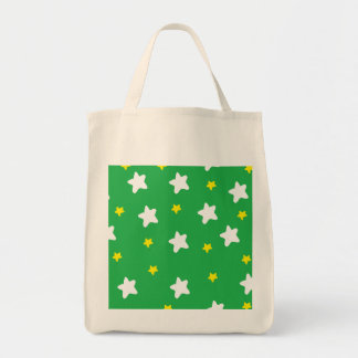 Happy Stars Green Grocery Tote Bag