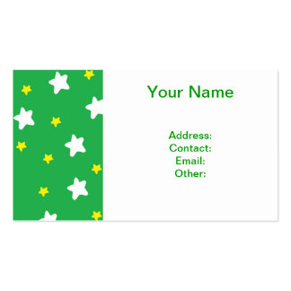 Happy Stars Green Business Card Templates