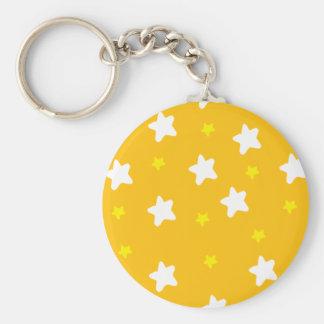 Happy Stars Orange Basic Round Button Keychain