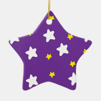 Happy Stars Purple Double-Sided Star Ceramic Christmas Ornament