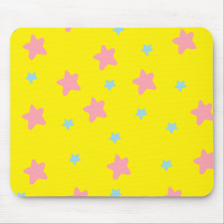 Happy Stars Yellow Mouse Pad