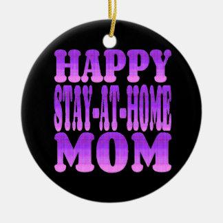 Happy Stay at Home Mom in Purple Ceramic Ornament