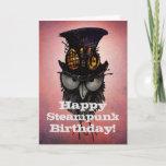 Happy Steampunk Birthday! - Funny Grumpy Owl Card