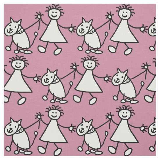 Happy Stick Girl and Dog Fabric