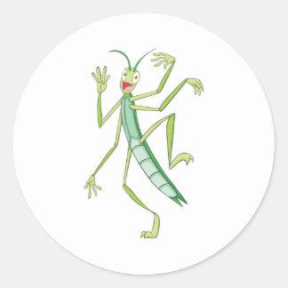 Happy Stick Insect Classic Round Sticker