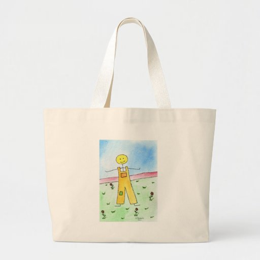 Happy Stick Man Tote Bags