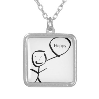 Happy stings one square pendant necklace