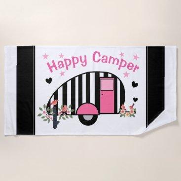 Beach Themed Happy Striped Camper Beach Towel