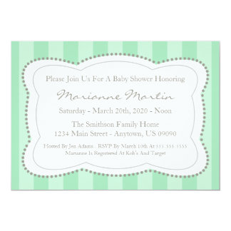 Happy Stripes Baby Shower Invitation (Mint Green)