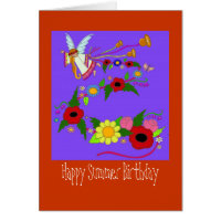 Happy Summer Birthday Ukrainian Folk Art Greeting Card