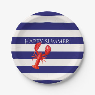 Happy summer blue and white stripes red lobster paper plate  sc 1 st  Zazzle & Red White Blue Stripes Paper Plates | Zazzle