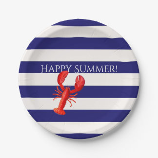 Happy summer  blue and white stripes red lobster paper plate