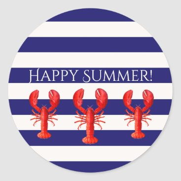 Beach Themed Happy Summer blue white stripes with lobsters Classic Round Sticker