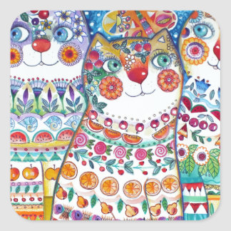 Happy summer cats square sticker