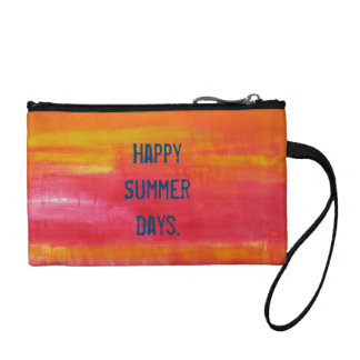"""""""Happy Summer Days."""" Pink, Red, Key Coin Clutch Change Purses"""
