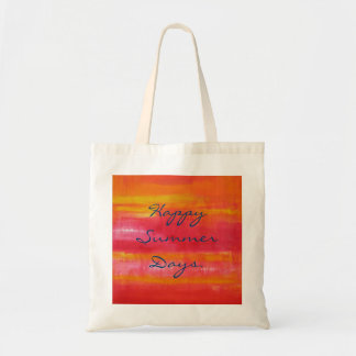 """""""Happy Summer Days."""" Pretty Cute Pink Red Budget Tote Bag"""