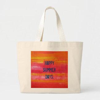 """Happy Summer Days."" Summer Feeling Pink Red Jumbo Tote Bag"