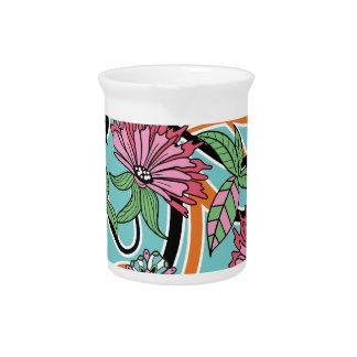 happy summer floral pattern drink pitcher