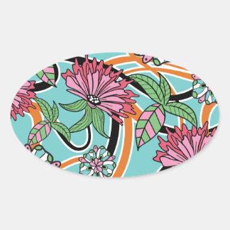happy summer floral pattern oval sticker