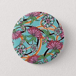 happy summer floral pattern pinback button