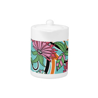 happy summer floral pattern teapot