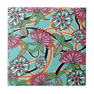 happy summer floral pattern tile