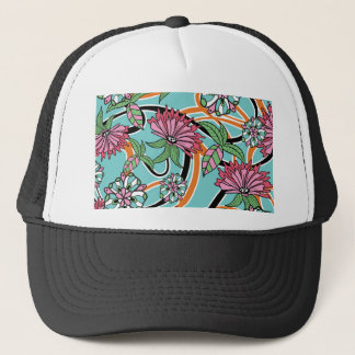 happy summer floral pattern trucker hat