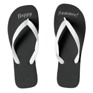 Happy Summer Solid Black W Wide White Strap Flip Flops