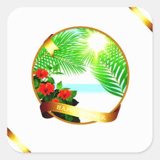 Happy Summer Square Sticker, Glossy Square Sticker