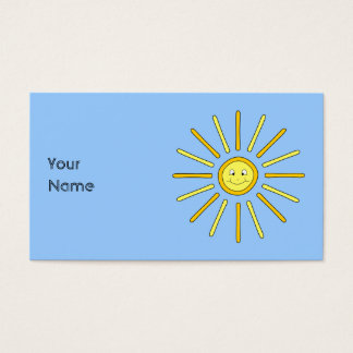 Happy Summer Sun. Yellow and Blue. Business Card