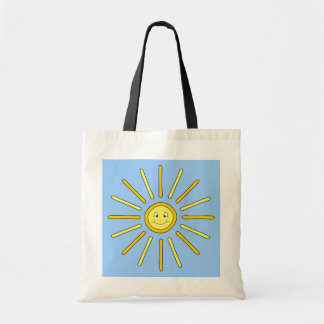 Happy Summer Sun. Yellow and Blue. Canvas Bag