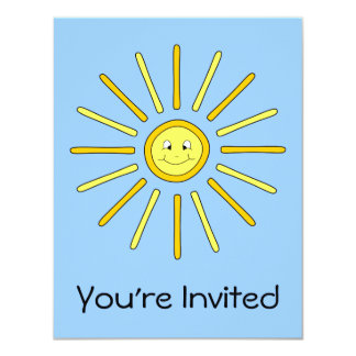 Happy Summer Sun. Yellow and Blue. Card