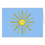 Happy Summer Sun. Yellow and Blue. Greeting Card