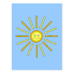 Happy Summer Sun. Yellow and Blue. Postcard